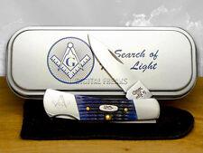 CASE XX Blue Bone Masonic Lockback Pocket Knives Knife