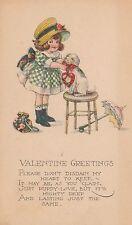 Vintage Postcard Valentine Little Girl and Dog on Stool Beagle Umbrella