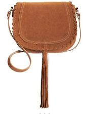 INC International Concepts Willow Saddle Tassel Fringe Cross Body Bag COGNAC