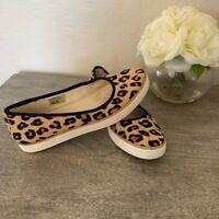 UGG Womens Kammi Slip On Sneakers Beige Calf Hair Leopard Print Shoes 7