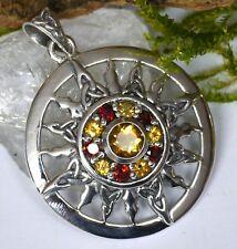 Neu! Peter Stone celtic Sun 925 Silber Energieamulett Granat Citrin Sonne Kraft
