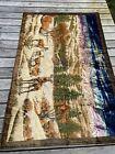 Vintage Buck Deer Woodland Scene Velvet Plush Rug Wall Art Carpet Tapestry 48x75