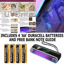 Portable UV Light Ultra Violet Blacklight Bank Note Money Checker & Batteries
