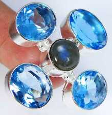 Quartz Blue Topaz & 925 Silver Handmade Stylish Ring Size N & gift-box
