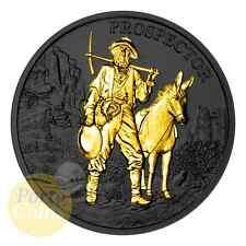 1 oz 999 Fine Silver Prospector Ruthenium & 24k Gold Gilded Coin NEW