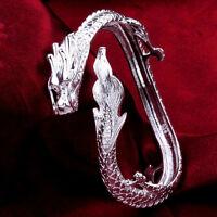Cool 925Sterling Silver Big Dragon Strong Men Fashion Cuff Bracelet 6.5CM YB222