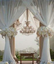 "Lace Curtains Sheer White 2 Panels 110x98"" ea Great Outdoor Indoor Porch Wedding"