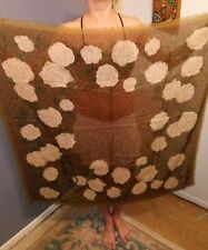 """Vtg 80s Beige/Fall Colors Frayed Edge Peony Print Silk Blend Square Scarf 40×40"""""""