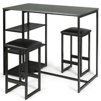 3 PCS Bar Table Seat Set Kitchen Dinging Room Table w/2 Stools Faux Marble Top