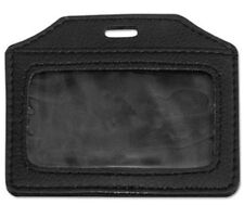 Leather-Look Badge Holder, 3 1/2 x 2 1/2, Horizontal, Black, 5/Pack AVT-763