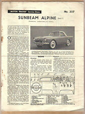 Sunbeam Alpine Series I Motor Trader Service Data No. 357 1960