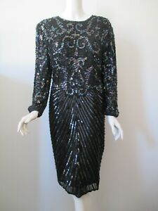 Vintage SWEE LO Black Hand Sequin Beaded Slim Fit Evening Party Dress L