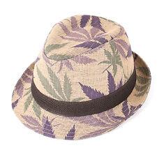 "Men Women Summer Beach Fedora Hat For Unisex w/Linen ""Made In Korea"" Pruple Colr"
