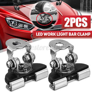 2 Pcs Universal Car A-Pillar Hood LED Work Light Bar Mount Bracket Clamp Holder