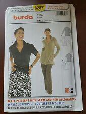 BURDA BLOUSE PATTERN 8287 - SIZES 10 TO 24 - UNCUT