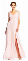 ADRIANNA PAPELL PIN TUCKED TULLE GOWN LACE SEQUIN ELBOW SLEEVES sz 2 NWT MOB