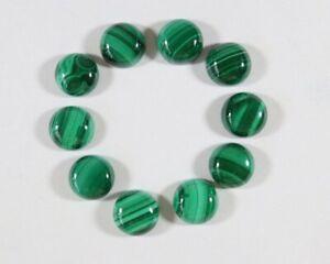 50 Pcs Natural Malachite 6mm Round Cabochon Gemstone Brilliant Synthetic Gems