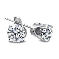 1 Ct Round Cut 14K White Gold Diamond Stud Earrings, H, I2-I3