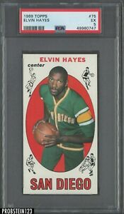 1969 Topps Basketball #75 Elvin Hayes San Diego RC Rookie PSA 5 EX