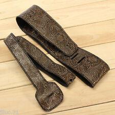NEW Sangle cuir avec motifs en relief - brown & black- pour guitare ou basse