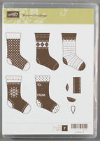 Stampin Up STITCHED STOCKINGS Clear Mount Rubber Stamp Set - Christmas Gift Tag