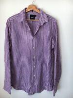 "Asos Blue Pink Check Cotton Long Sleeve Shirt Size L 42"" <T6623"