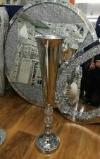 Stunning Silver Coloured Jewelled Decorated Floor Vase Ornament.