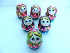New Hand Painted Mini Russian Nesting Doll 3 Piece Set Made In Russia