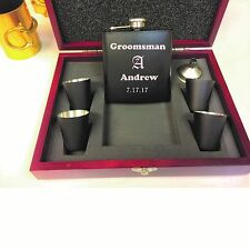 6 Personalized Groomsmen Gift box Engraved Flask Sets Wedding Custom Wood Case