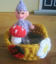 HAND KNITTED MAGICAL ENCHANTED FOREST PIXIE BABY. 4 INCHES TALL. 4 PC. SET.