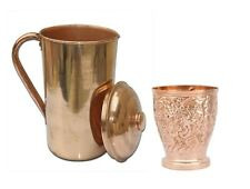 100% Copper 1 Lt Ayurveda Copper Water Pitcher jug With 1 250 ML Glass