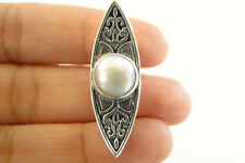 White Mabe Pearl Ornate Balinese 925 Sterling Silver Slide Pendant