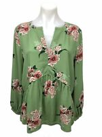 Loft Peplum Blouse Long Sleeve V-Neck Green Pink Floral Top Women's Size S