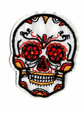 WHITE COLOURFUL SKULL Iron on / Sew on Patch Embroidered Badge Sugar Skull PT33