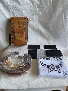Authentic MCM X-Mini Patricia Cognac Crossbody Bag