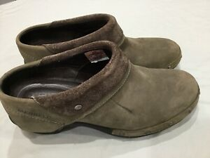 MERRELL Women's Brown Learher Luxe Wrap Heeled Studded Clogs Size 8M ,euc