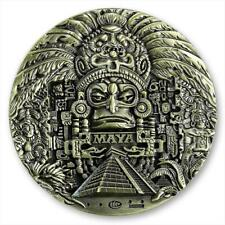 The Mayan Long Count Calendar Aztec 80 mm big bronze plated medal souvenir token