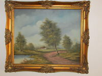 Large Vintage Original Oil Painting On Canvas 'Landscape', Signed By J. Kok