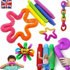 5/10/15/20PC Kids Tube Fidget Toy Sensory Stretch Pipe Decompression Stress Lots
