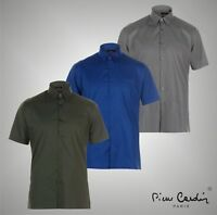 Mens Pierre Cardin Smart Casual Slim Fit Short Sleeve Shirt Top Size S-XXL