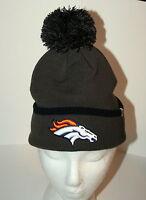 47 Brand Denver Broncos Pom-Pom NFL Team Football Gray Knit Cap Hat New Tags