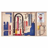 PEBARO Qualitäts-Laubsägeschrank, mit Bohrmaschine, 28 Teile