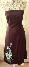 COAST brown stretch COTTON bodice dress with SILK APPLIQUE FLOWERS 10 38 NEW