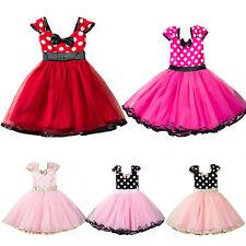 Kinder Mädchen Minnie Partykleid Festkleid Geburtstag Sommer Tüll Tutu Kleid DE