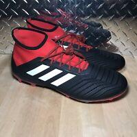 Adidas Predator 18.2 FG Soccer Shoes Black White Red Cleats DB1999 Mens Size 12