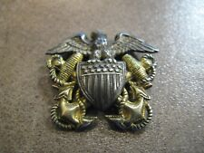 Vangard NY WWII US Navy Officer Eagle Cap Badge - Sterling 1/20 - 10K G/F