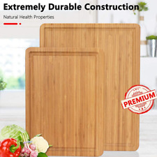 More details for organic bamboo large & small chopping board with juice groove food cutting board