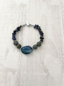 Lapis Lazuli / Agate Bracelet, Healing Bracelet - Stylish In Blue Bracelet