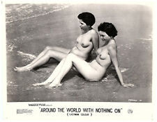 Around the World with Nothing on 1961 nudist movie girls sunbathe on beach