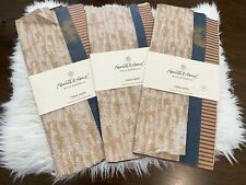 Hearth & Hand Striped Red Brown White Trees Blue Pinecone Gift Bag Tissue Paper